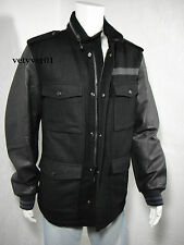 NIKE DESTROYER Military Field M65 Letterman Jacket Wool/Leather, Black, size 3XL