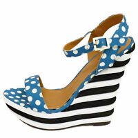 Ladies Blue White Polka Dot Spotted Ankle Buckle Wedge Heel Sandals UK Sizes 3-8