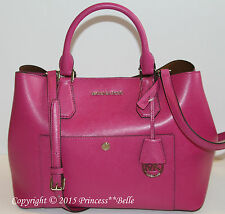 MICHAEL KORS Greenwich Large Satchel Leather Purse HandBag Bag Tote Fuschia