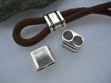 10pcs Antique Silver Square Charm Slider Spacer For 5.5mm Round Licorice Leather