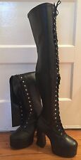 demonia thigh-high gothic boots size 10