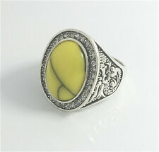 Vintage Woman 316L Stainless Steel Vogue Design Mini Stone Ring Size 8  NEW B5