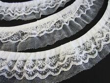4 yards Elastic 3 Layers Floral & Mesh Ruffle Lace/Trim/Sewing/Dress/Craft T40