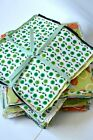 Green Bundle Craft Fabric Material Sewing Quilting Patchwork Squares FREEButtons