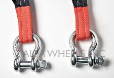 """3"""" 6.5 TON Recovery Strap 30 ft w Bow Shackles winch sling off-road ATV snatch"""