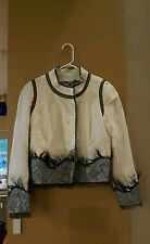 Rochas Ivory Knit Sequin Feather Trim Button Front Blazer Size EUR 40