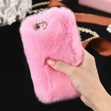 iPhone 7 7 Plus Phone Case Samsung Rabbit Fur Case Winter Warm Soft Fluffy Cover