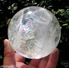NATURAL RAINBOW CLEAR QUARTZ CRYSTAL SPHERE BALL HEALING GEMSTONE 80mm AAA
