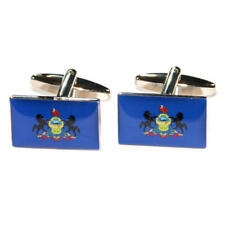 Blue Pennsylvania Us American State Flag Cufflinks With Gift Pouch Flags Present