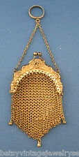 Victorian German Silver Mesh Purse W/Knuckle Ring