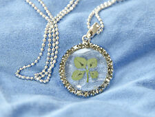 REAL FOUR LEAF CLOVER PENDANT ROUND