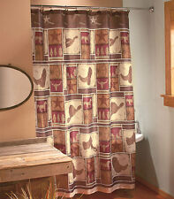 Western Cowboy Shower Curtain Rustic Country Hat Cowboy Horseshoe Home Decor