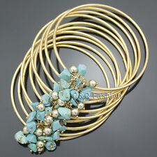 Gold 80S Wrap Layer Fine Wire Wide Turquoise Bead Fringe Bracelet Bangle Cuff W2