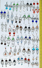 Lot 10 Pairs Alpaca Colored Glass Dangle Earrings Handcrafted Peruvian Jewelry