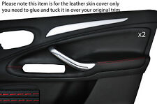 RED STITCH 2X FRONT DOOR CARD SKIN COVERS FITS FORD GALAXY MK3 S-MAX 06-15