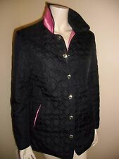 "Coach Quilted Classic ""C""  Black Jacket with Pink Lining"