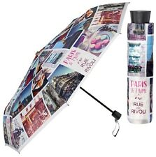 Perletti Bright Paris City Design Manual Folding Umbrella Compact Brollie Gift
