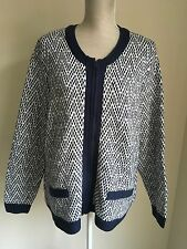 BM Collection Women Cardigan Navy Blue And White Knit Size XL (18-20) (2)