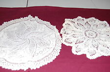 """Lot of 2 VINTAGE Ivory Beautifully Designed Hand Crocheted Doilies 13"""" & 11.5"""""""