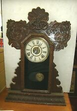 Antique INGRAHAM pressed wood parlor alarm clock
