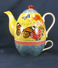 "Tea for One Set Cup and Teapot Porcelian ""Butterfly Floral"""