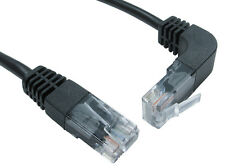 Cat5e RJ45 Network Cable Straight to right angle up, black ethernet lead 1 Mtr
