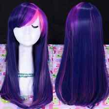 New Women's Cosplay Wigs Pony Long Straight Mix Color Purple New Nature Full Wig