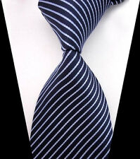 New Classic Blue&Navy Blue Striped WOVEN JACQUARD Silk Men's Suits Ties Necktie