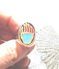 1980's Vintage Large Stainless Steel Size 9 Men's Bear Paw Inlay Ring