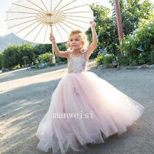 Pink Flower Girl Beads Tutu Birthday Evening Prom Party Pageant Dance Ball Gown