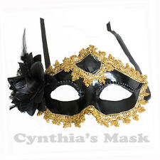 Black w/ Gold Metallic Floral Venetian Masquerade Mask BZ678B for Party&Display