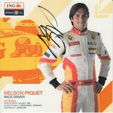 NELSON PIQUET JR HAND SIGNED PROMO CARD ING RENAULT F1 AUTOGRAPH.