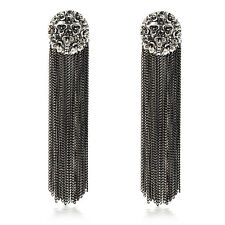 Fashion Women Bohemia Style Black Crystal Long Tassel Drop Dangle Earrings
