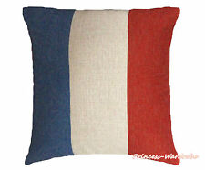 Blue White Red France Flag Patriotic Zip Linen Cushion Cover Home Sofa Bed Decor