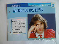 CARTE FICHE PLAISIR DE CHANTER JEAN JACQUES GOLDMAN AU BOUT DE MES REVES