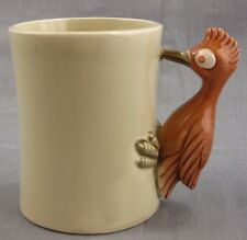 Fitz and Floyd Bird-in-Hand Mug Coffee Cup Woodpecker Handle 1978 Small Chip