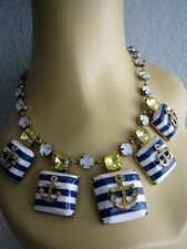 BETSEY JOHNSON SHIP SHAPE NAVY STRIPE CRYSTAL ANCHOR STATEMENT NECKLACE~NWT