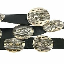 Native American Sterling Silver Stamped Oval Concho Leather Belt 36""
