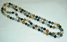"""Vintage 14K Yellow Gold 10 mm Multi Color Jade Bead Hand Knotted 129g 42"""" Long"""