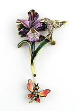 JAY STRONGWATER ORCHID & HUMMINGBIRD STICKPIN PIN SWAROVSKI NEW MADE IN USA