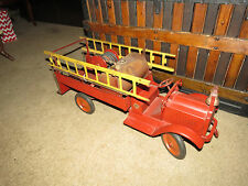Antique Large Red Keystone Packard Fire Truck Toy with Original Stickers
