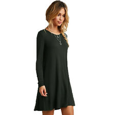 Women Loose Casual Skater Swing Dress O-neck Long Sleeve Ruffles Mini Dress lot