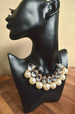 STUNNING Diamante/rhinestone and pearl choker necklace collar beaded vtg