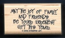 MAY JOY OF FAMILY FRIEND GREATEST GIFT Card Words NEW Stampin' Up!  RUBBER STAMP