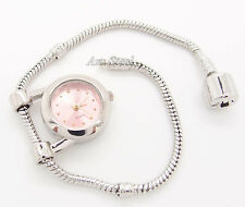 "PINK Quartz Watch + 7.5"" European Charm Bead Bracelet"