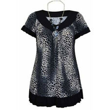 NEW LADIES PLUS SIZE LEOPARD PRINT NECKLACE TUNIC WOMENS ANIMAL PRINT TOPS 16-20