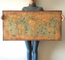 Large retro World Map Kraft Paper Paint vintage Wall Sticker Poster Living Ro...
