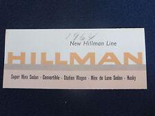 HILLMAN 1963-1964 Car Sales Auto Brochure Fold Out Super Minx Minx de Luxe Husky