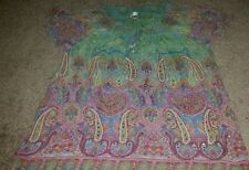 DRESS BARN 2X BLOUSE SHEER MULTICOLOR PAISLEY DESIGN BEADS SEQUINS ELASTIC NECK