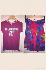USED ABERCROMBIE & FITCH LOT SZ S SMALL 2 SHIRTS STRAPLESS FLORAL SHIRT T SHIRT